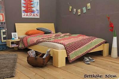 SUVA Bambusbett mit Rückenlehne 200x220cm, 30cm oder 40cm Bett Höhe, NEU! ()