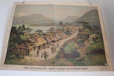 Old Schulwandtafel Wall Chart Hakone A Lake Aschi-No-Umi Landscape Altjapan