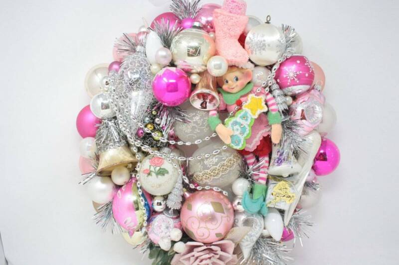 Vintage Ornament Wreath Shabby Cottage Chic Pink Silver White Christmas Wreath