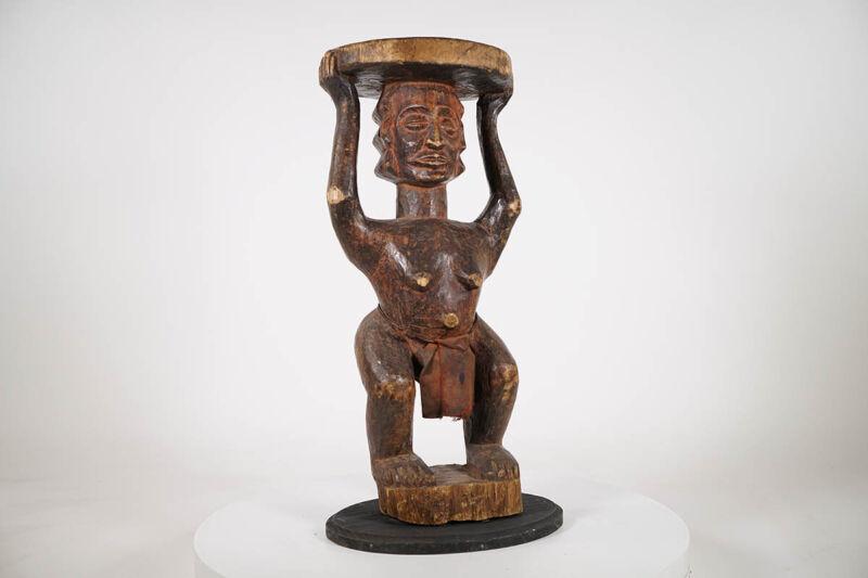 "Female Luba Stool 23.5"" on Base - DRC - African Art"