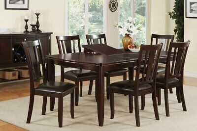 - NEW 7PC COLLETE DARK CHERRY FINISH WOOD DINING TABLE SET w/ BUTTERFLY LEAF
