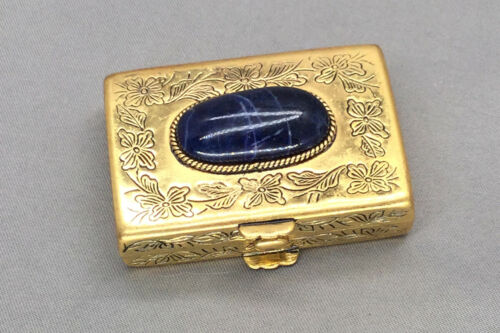 Vintage Gold Tone Pill Box with Blue Stone Lid Hinged Unbranded