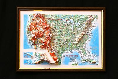 United States Map 3D Raised Relief Framed Map Amazing Decorative Bird's-Eye View