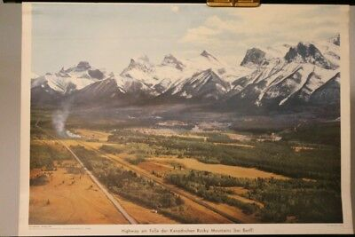 Schulwandkarte Role Map Wall Chart N-Amerika Highway Canadian Rocky Mountains