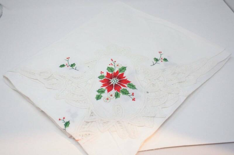 Vintage Christmas Tablecloth 96 x 65 White Cut Lace Poinsettia