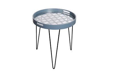 Moderner Runder Schrank (Tische Nachtschrank Moderner Beisteltisch Hellblau Handgefertigt In Runder Form)