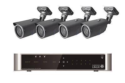 Videoüberwachung Set mit 4 Kameras FULLHD 1080p Innen Außen 2.1MP 40M Nachtsicht