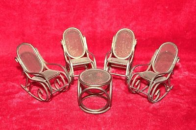 Old Vintage Brass 5 Pc Handcrafted Baby Doll House Chair Table Collectible PM-9