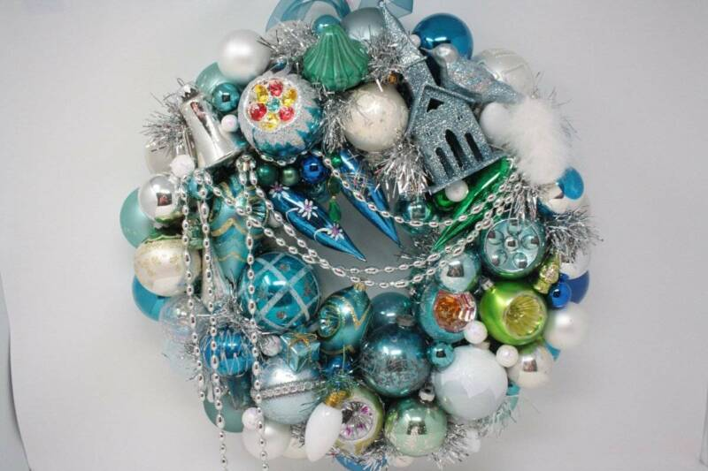 Vintage Ornament Wreath Christmas Front Door Wreath Blue Silver Green White