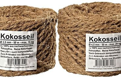 Kokosseil 2 x 50 m Kokosband Baumbinder  Dekoseil Seil Kokosgarn Pflanzenbinder
