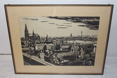 Beautiful Woodcut Cologne Panorama Signed H. from the hoff 56/57 mid Century