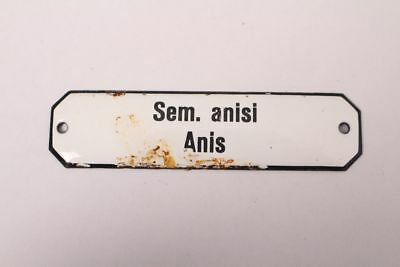 Sem. Anisi Anise Enamel Sign Colonial Krämmerladen Medicament Approx. 1900