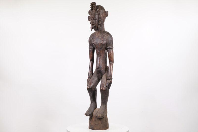 "Senufo Statue Wearing Mask 47.25"" - Ivory Coast - African Art"