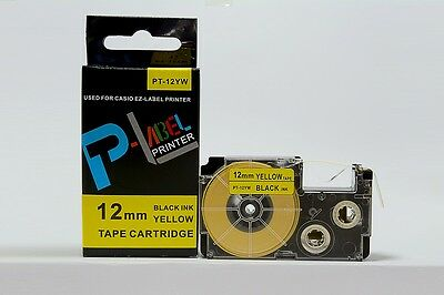 New Compatible For Casio Tape 12mm Black On Yellow Label Kl60 Xr-12yw1 Ez Lable