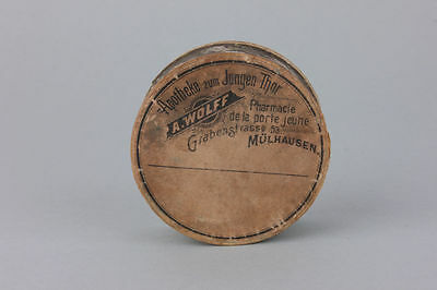 Papp-Pillendose Apotheke zum Jungen Thor, Mühlhausen (Elsass), um 1900
