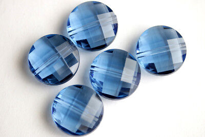 (10PCS) 18mm Dark Blue Puffy Coin Beads. Faceted Coin Beads in Clear Acrylic.