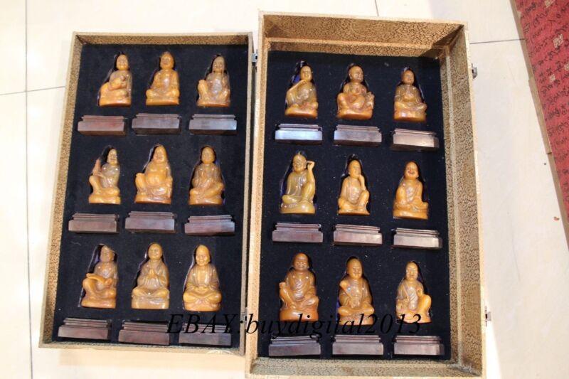 Chinese Shoushan Shou Shan Stone Taoism Eighteen Arhat Arhats God Set Statue