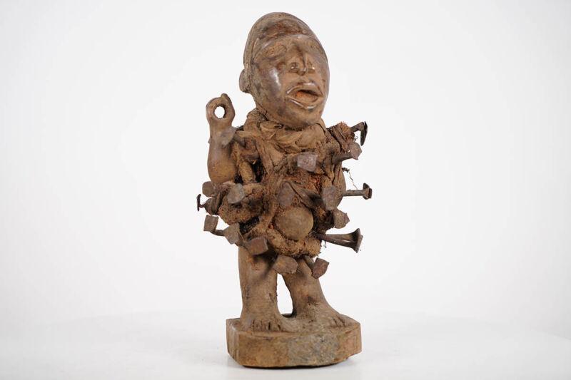 "Small Bakongo Nail Fetish Statue 12"" - DRC - African Art"