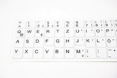 Deutsche Tastatur-Aufkleber WEIß für Notebook. Weiß matt. Für 69 Tasten