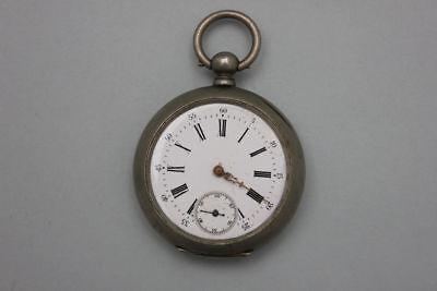 Neusilber Taschenuhr mit Schlüsselaufzug und Sekundenzeiger, 19.Jahrh.