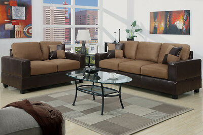 5pc Modern Micro suede Sofa and Love Seat Living Room Furniture Set - Brown, Tan