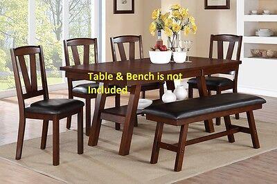 Dark Walnut Wood Framed Back Dining Chairs set upholster contemporary furniture