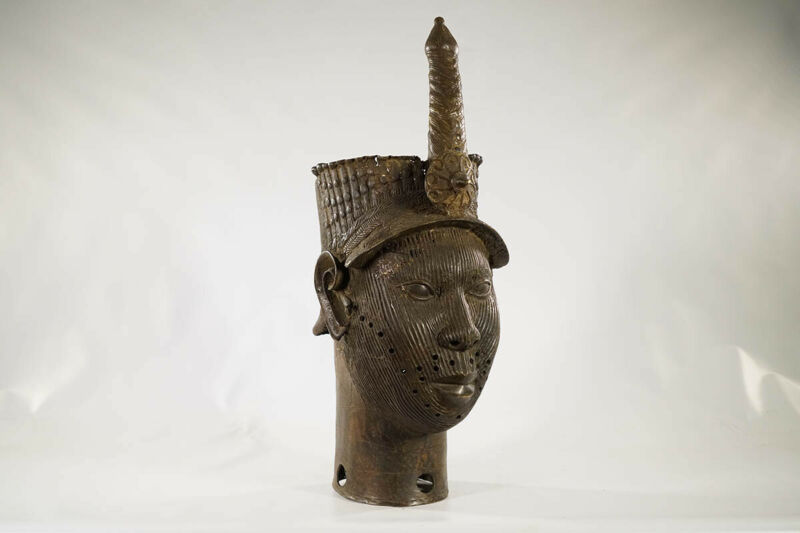 "Large Bronze Yoruba Ife Head 26.5"" - Nigeria - African Art"