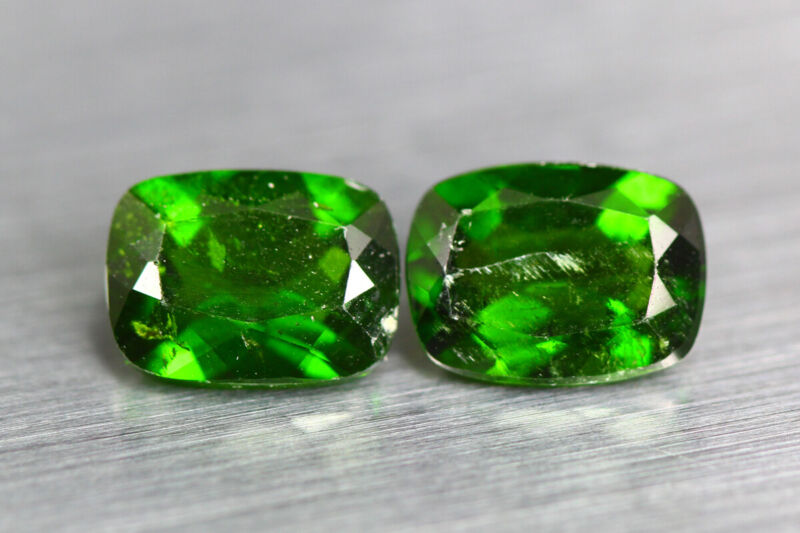 3.190 CT AMAZING UNUSUAL CHROME GREEN 100% NATURAL UNHEATED CHROME DIOPSIDE PAIR