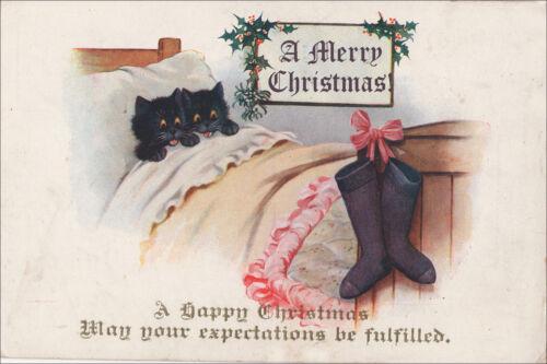 Black Kitten Cats Waiting for Santa 1930
