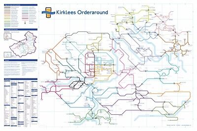 Kirklees Orderaround Pub Map poster.  (610 x 915mm) Huddersfield and beyond!