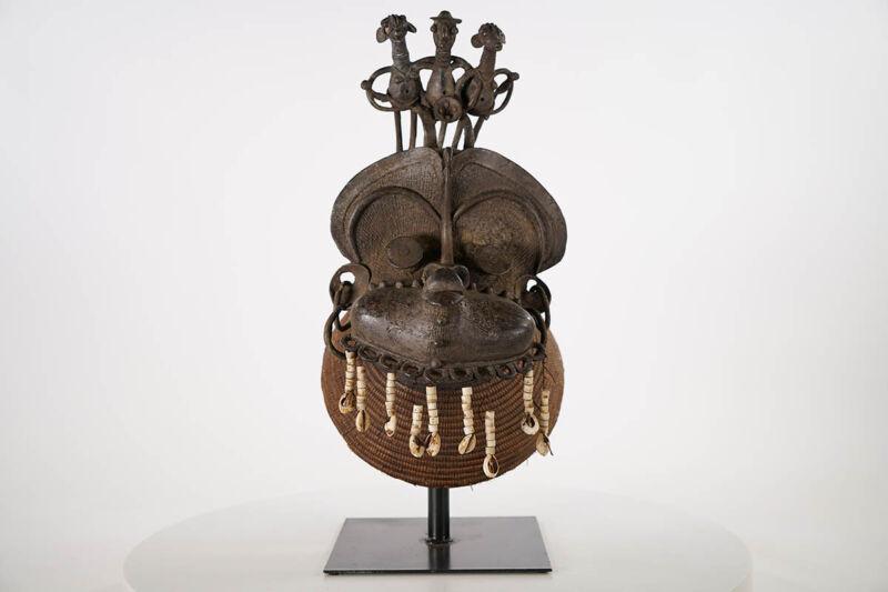 "Tikar Bronze Headcrest African Mask 13"" - Cameroon"
