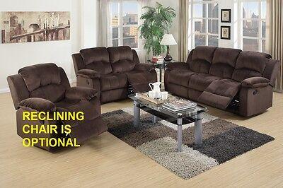 Modern Motion Sofa Set Sofa Loveseat Chocolate Padded Wide Arm Rest Living Room Modern Wide Sofa