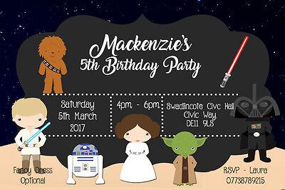 Personalised Boy/Girl Star Wars Birthday Party Invites inc envelopes SW5