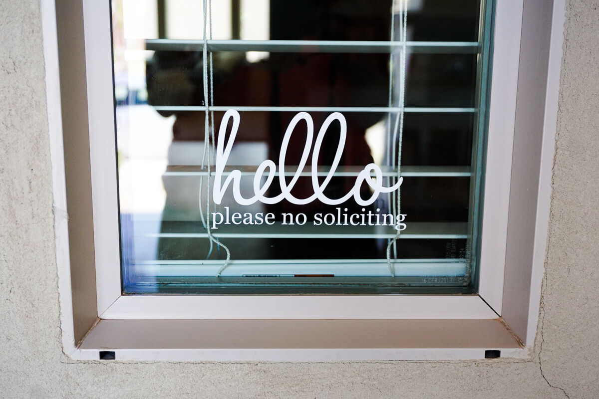 Home Decoration - Hello No Soliciting Sign Vinyl Decal Sticker
