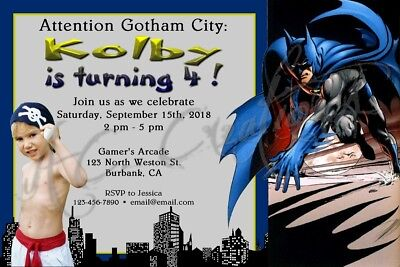 Batman Gotham City Birthday Party Invitation Cartoon Superhero Custom Unique  (Custom Batman Invitations)