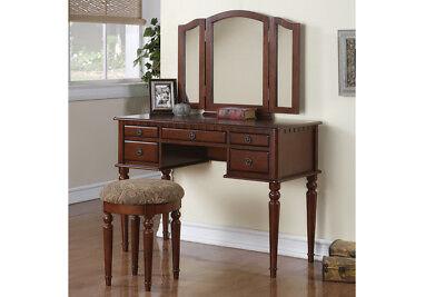 Makeup Vanity Table Set Girls Bedroom Vanities Large With Mirror Drawers Wood ()