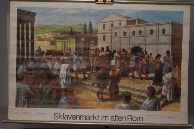 Schulwandkarte Role Map Wall Chart Sklavenmarkt IN Old Rome Rummer City