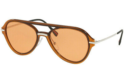 Prada Sport Sunglasses PS04TS FKS-1J2 Brown & Silver Frame W/ Orange -