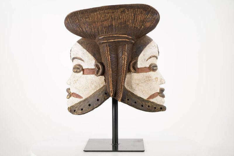 """Gorgeous Punu Janus Helmet Mask 15"""" - Gabon - African Art"""