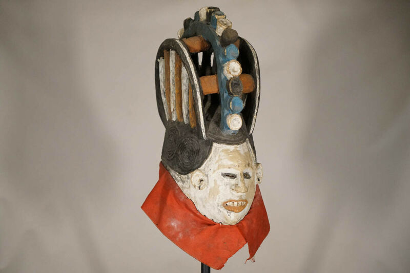 "Colorful Igbo Maiden Spirit Mask 19"" - Nigeria - African Art"