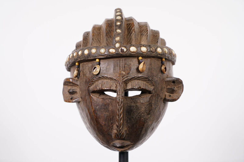 """Bamana Mask Decorated with Cowrie Shells 12"""" - Mali - African Art"""