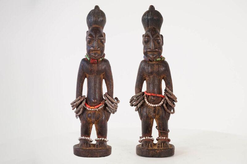"Yoruba Ibeji Male Pair 12"" Each - Nigeria - African Art"