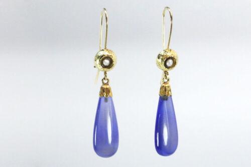 CHALCEDONY Victorian Teardrop Earrings
