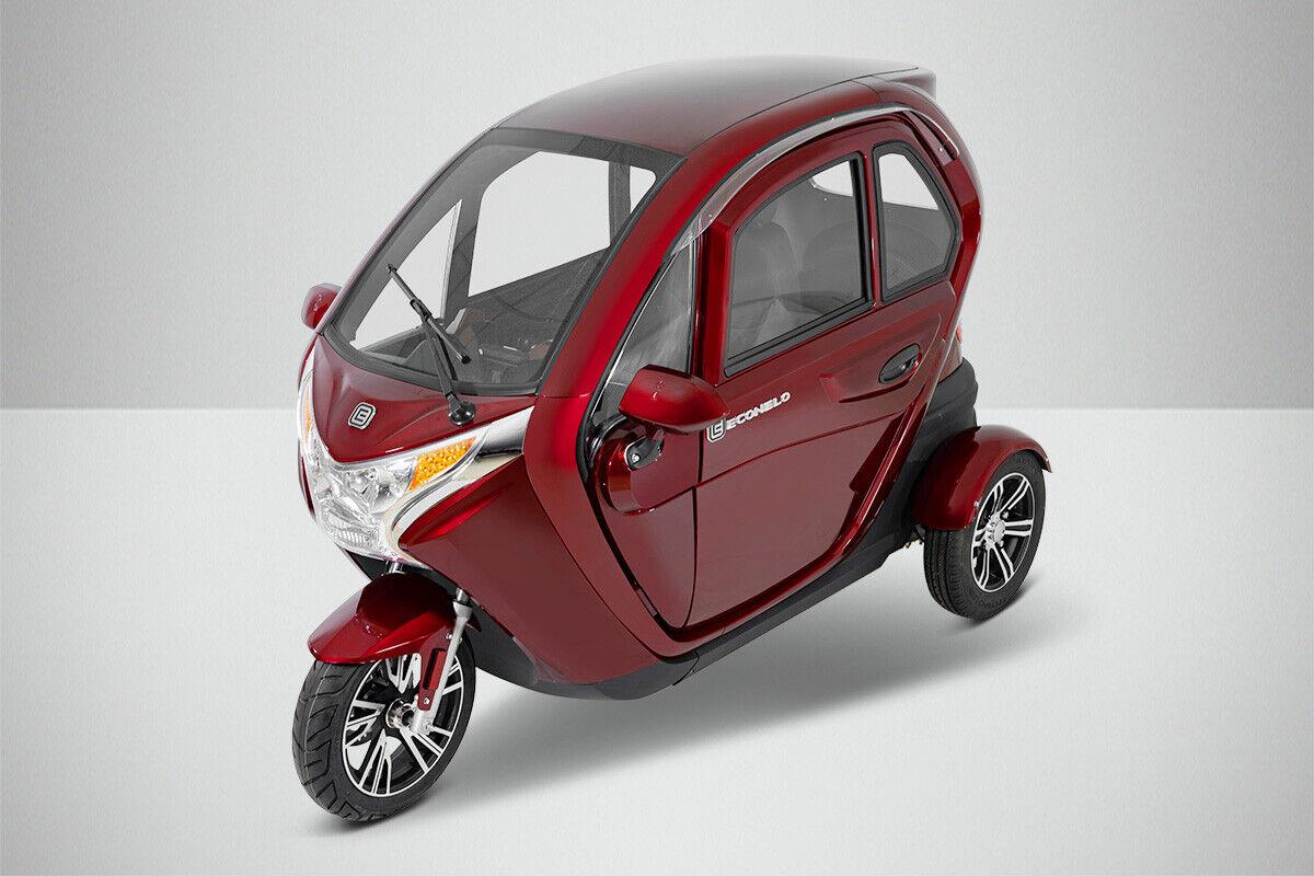 Dreirad Elektro Roller Seniorenfahrzeug Elektromobil Kabinenroller F1 ROT