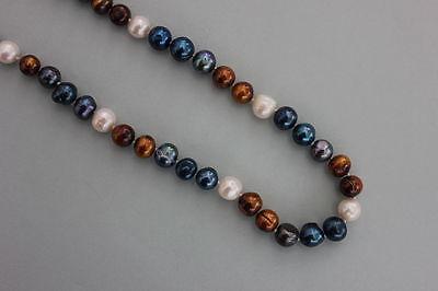 Mehrfarbige Zuchtperlen-Halskette  10-11 mm   Länge 120 cm