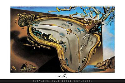 "Salvador Dali art poster 24x36"" Clock Explosion - melting expoding clocks"