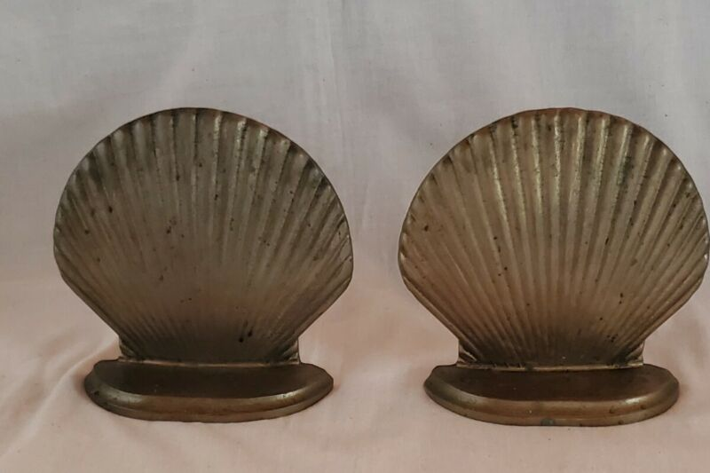 """Vintage Brass Shell Bookends 5"""" x 5"""""""