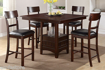 5P Dining Set Counter Height Table Chair Dark Chocolate Faux Leather Dining Room