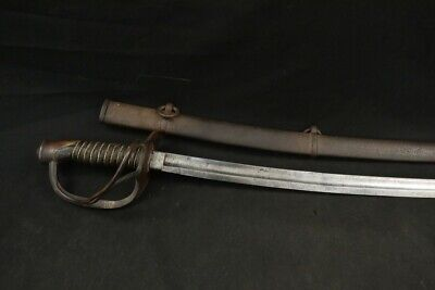 Civil War US Army Ames Mfg. Model 1860 Light Cavalry Sword Sabre 1865 & Scabbard