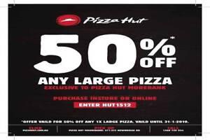 50% OFF at @PizzaHutMoorebank, Sydney